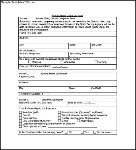 medicare nursing home complaint form sle templates