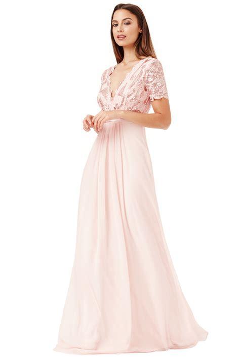 goddiva womens sequin chiffon maxi dress beige