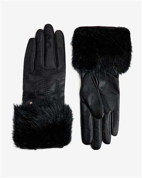 By Ralph Faux Fur Trim Gloves by Lyst Ted Baker Jania Faux Fur Leather Gloves In Black