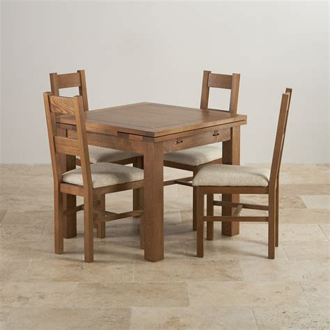 rustic oak dining set 3ft table with 4 beige chairs