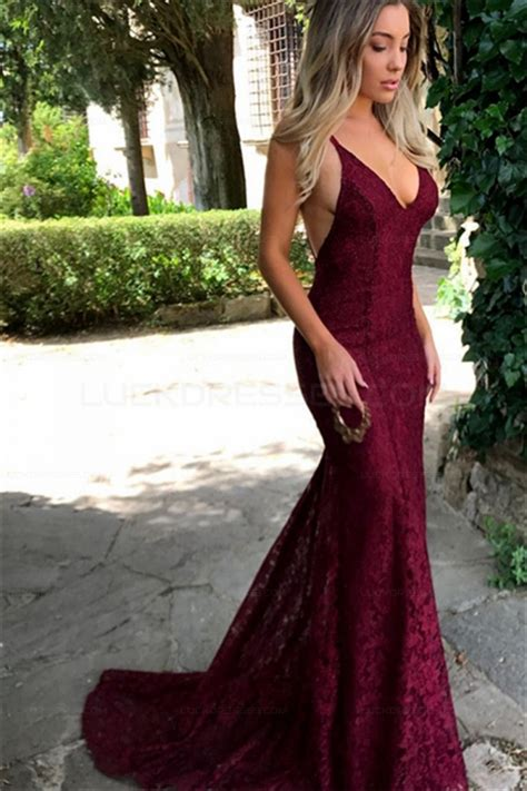 V Neck Lace Evening Gown mermaid v neck lace prom dresses evening gowns 3021533