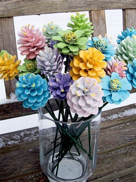 how to make pine cone flowers flower power pinterest turn pine cones into zinnia flowers the whoot