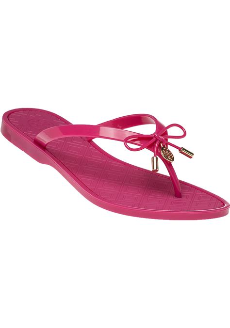 burch jelly slippers burch jelly bow sandals in pink lyst