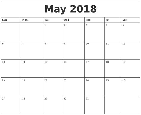 printable monthly calendar free may 2018 printable monthly calendar