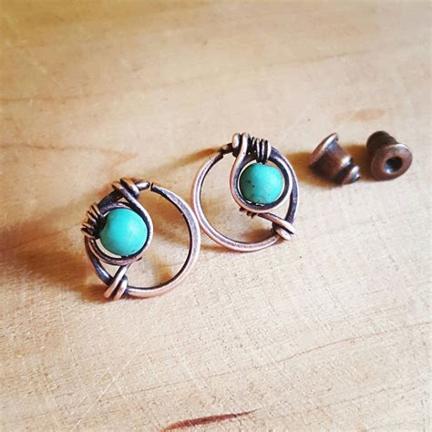 Handmade Sted Jewelry - funky stud earrings wire wrapped jewelry turquoise studs