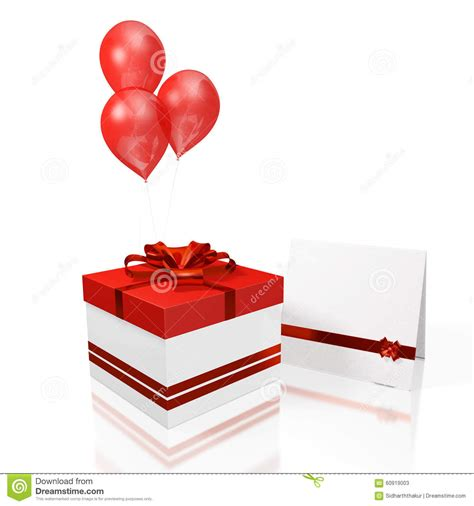 Red Balloon Gift Card - gift box greeting card and red balloon stock illustration image 60919003