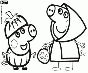 Peppa Pig Halloween Coloring Pages | peppa pig and george at halloween coloring page printable game