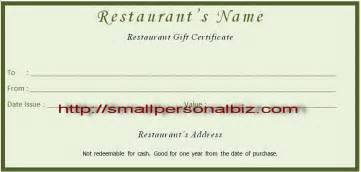 food gift certificate template free printable blank restaurant gift certificates