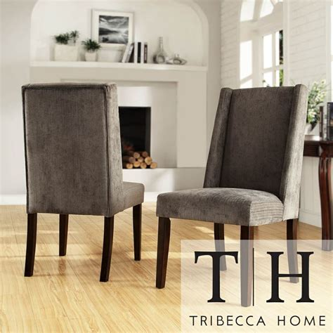 tribecca home ian grey chenille wingback dining chair set of 2 by tribecca home home chairs