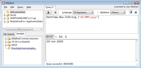 format date visual basic linqpad as a code scratchpad