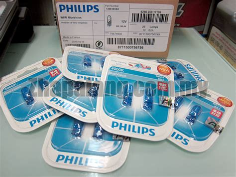 Philips Bluevision T10 W5w White Light Blue Vision Lu Sein Senja philips blue vision w5w t10 4000k side parking wedge light bulb zhapalang e autoparts