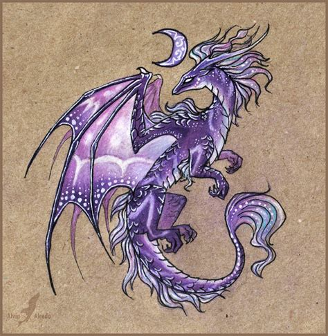 tattoo dragon purple dragon of a violet moon by alviaalcedo deviantart com on
