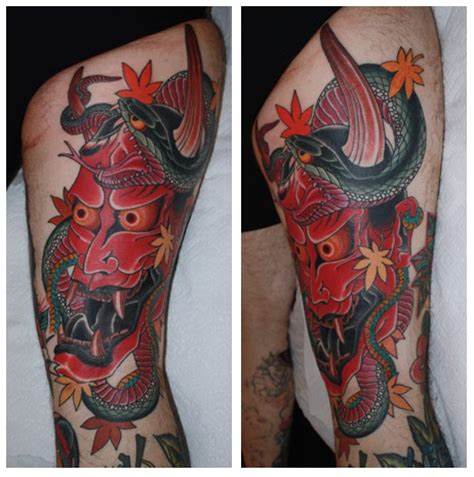 hannya and snake tattoo for landon chris o donnell tattoo