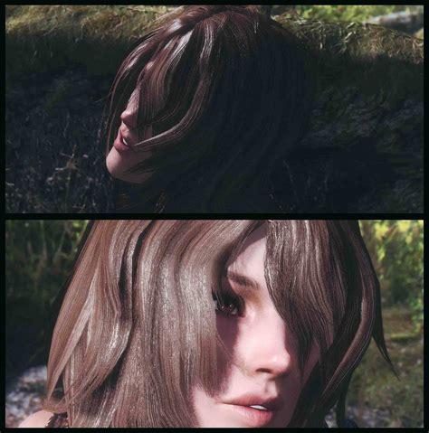 skyrim hdt hairstyle female hairstyles with physics 髪 顔 体 skyrim mod データベース