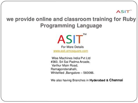 online tutorial ruby learn ruby programming language at asit