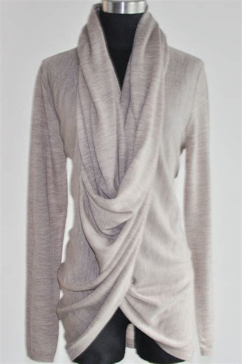 drape cardigan sweater this convertible draped neck cardigan sweater features a