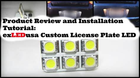 Lu Led Licons product review and installation tutuorial exledusa custom license plate led light 5k