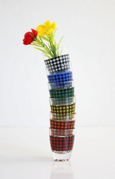 Colorful Barware Mid Century Modern Houndstooth Glasses From