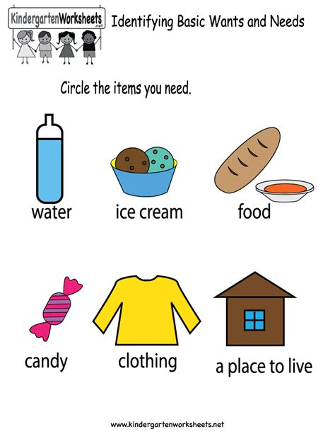 kindergarten activities needs and wants free printable identifying basic wants and needs worksheet