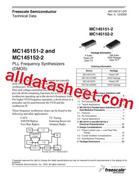 mc145151p2 데이터시트(pdf) freescale semiconductor, inc