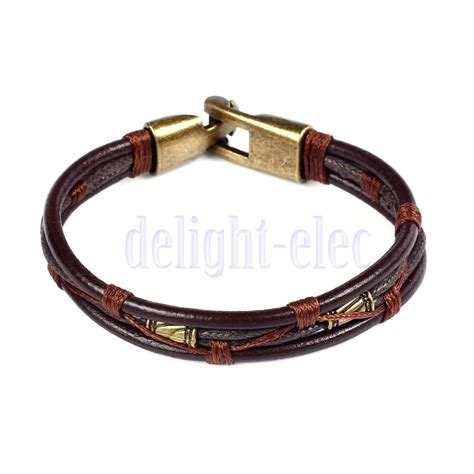 mens leather braided wrist cuff band brown rope bracelet