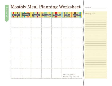 monthly food calendar template free printable meal planners