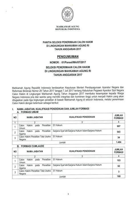 cpns 2016 2017 pusat pengumuman cpns indonesia ppci pengumuman resmi penerimaan calon hakim 2017 mahkamah
