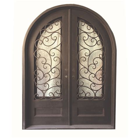 Wrought Iron And Glass Doors Grafton Exterior Wrought Iron Glass Doors Fern Collection Black Right Inswing 98 Quot X74 Quot Top