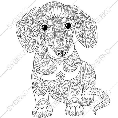 coloring books for adults dogs dachshund sausage coloring page by