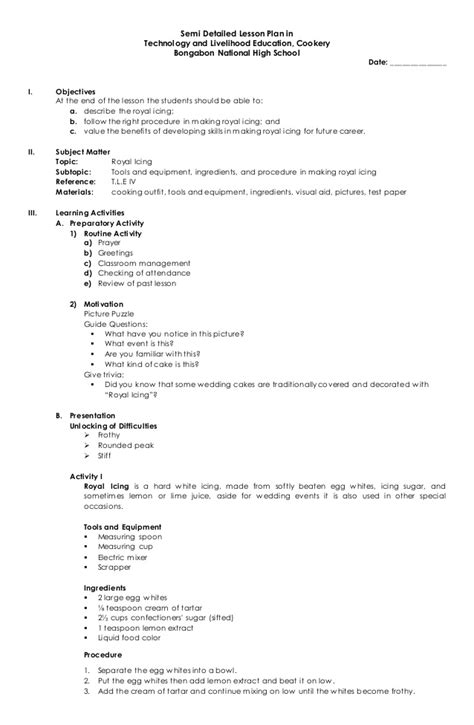 detailed lesson plan template semi detailed lesson plan in t l e cookery