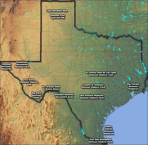 map of texas national parks national park service in texas texas national park service