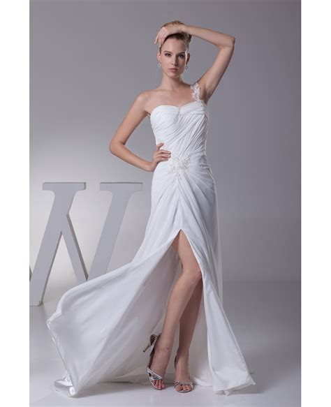 beaded one shoulder gown one shoulder pleated beaded lace wedding dress