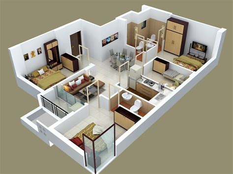 3d Furniture Layout | 50 four 4 bedroom apartment house plans architecture