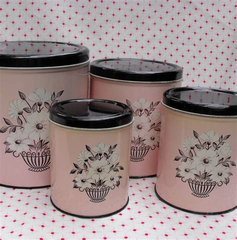 pink kitchen canister set pink canister set black white floral decoware retro