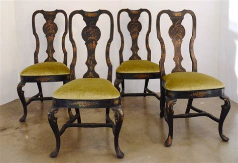 set of six black chinioserie dining chairs for sale at 1stdibs