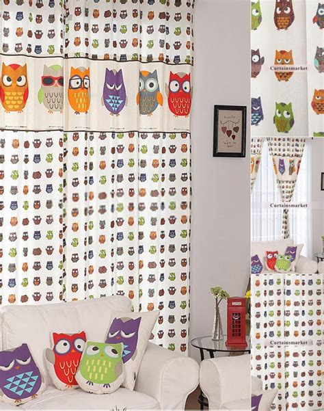 owl curtains owl patterned printing nice kids playroom curtains
