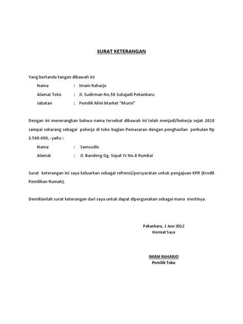 format surat pernyataan di sscn contoh surat keterangan perusahaan untuk kpr