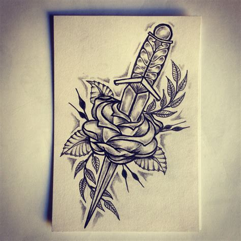 dagger rose tattoo sketch drawing tattoo ideas by