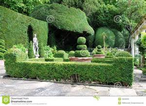 Formal English Gardens - topiary in a formal garden stock photos image 19640533