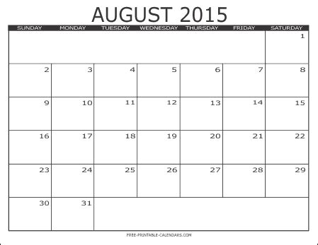 printable monthly calendars august 2015 image gallery monthly calendar august 2015