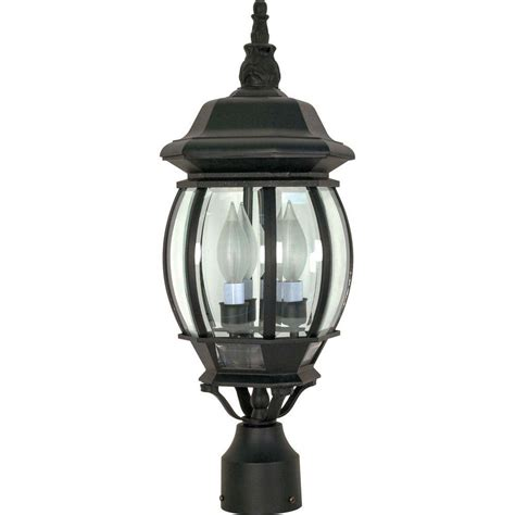 Lantern Post Light Outdoor Glomar 3 Light Outdoor Textured Black Post Lantern Hd 899 The Home Depot