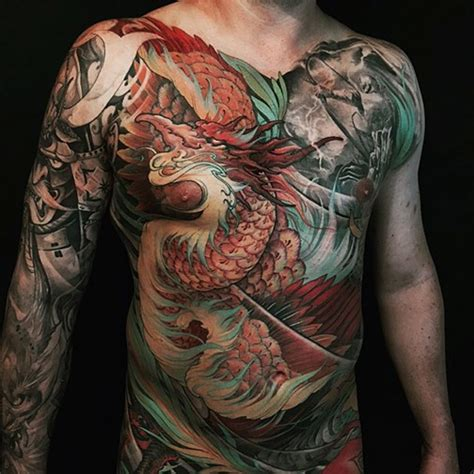 tattoo neo japanese neo japanese style colored whole chest and sleeve tattoo