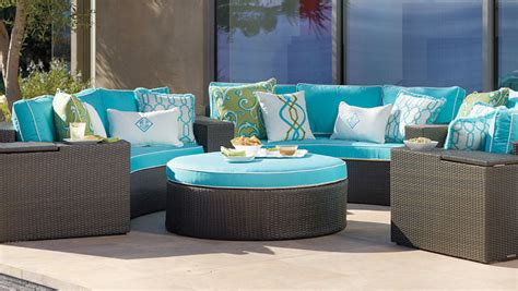 patio furniture blue blue wicker outdoor sofa kevin amanda