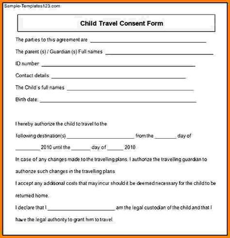 Parental Consent Permission Letter Exle Doc 575709 Travel Consent Form Permission To Travel