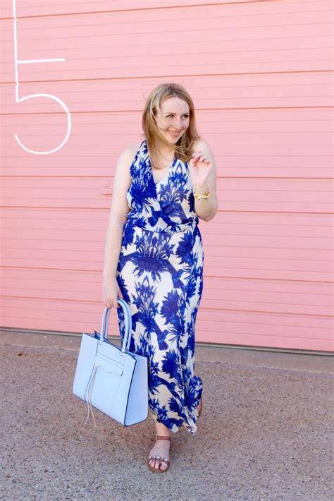 Blue Flower Bird Print Dress a blue and white floral maxi dress for graduation
