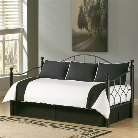 Bedding Sets For Black Furniture White Polished Iron Day Bed With White Flower Pattern