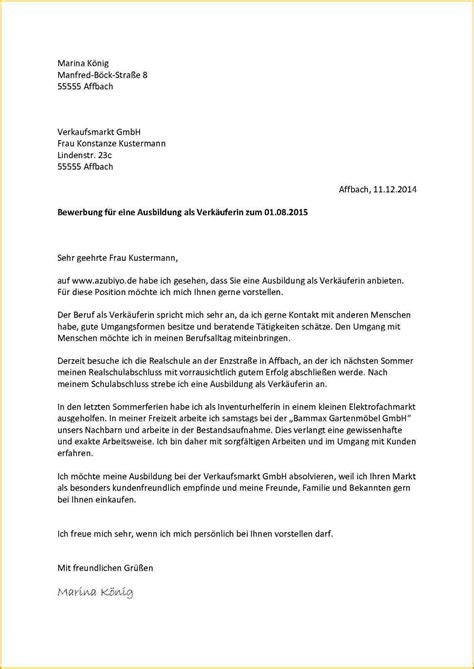 Bewerbungsschreiben Ausbildung Zur Verkäuferin 7 Bewerbung Verk 228 Uferin Muster Reimbursement Format