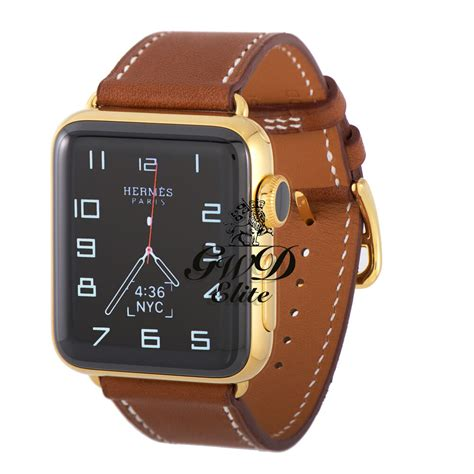 Apple Series 4 24k Gold by 24k Gold Plated 42mm Hermes Apple Series 3 Brown Fauve Single Tour Ebay