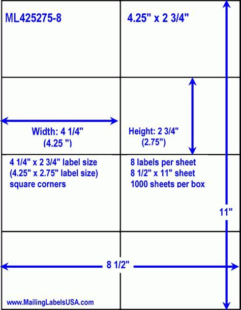 Label Template 8 Per Sheet White A4 Labels 8 Per Sheet 500 Sheets