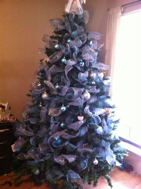 blue and silver christmas tree xmas pinterest